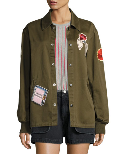 Gestures Twill Coach Jacket, Olive