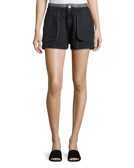 Cotton Denim Inside-Out Shorts, Black