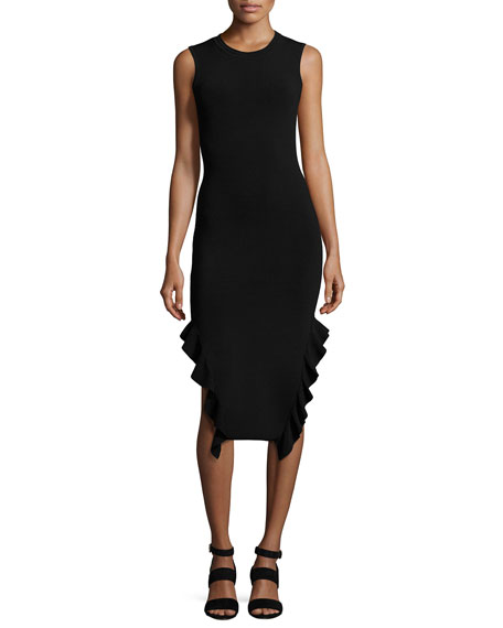 Opening Ceremony Sleeveless Stretch Crepe Ruffle-Trim Midi Dress,