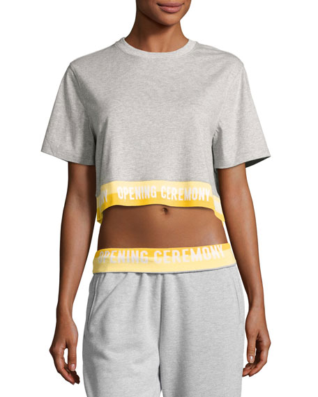 Opening Ceremony Heathered Jersey Elastic-Logo Tee, Gray