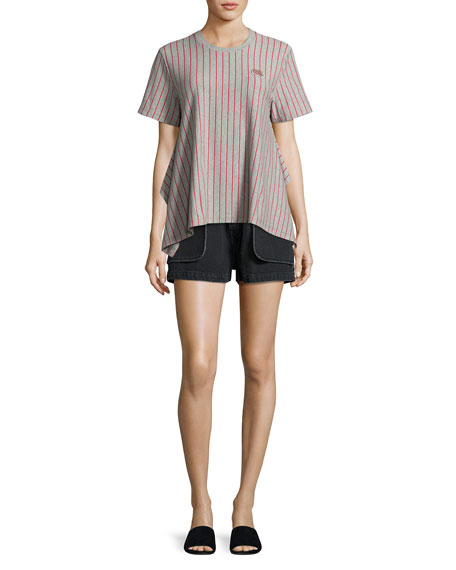 Short-Sleeve Striped Jersey Tee, Gray