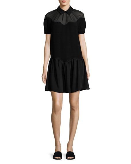Opening Ceremony Short-Sleeve Scalloped Stone Crepe Dress, Black
