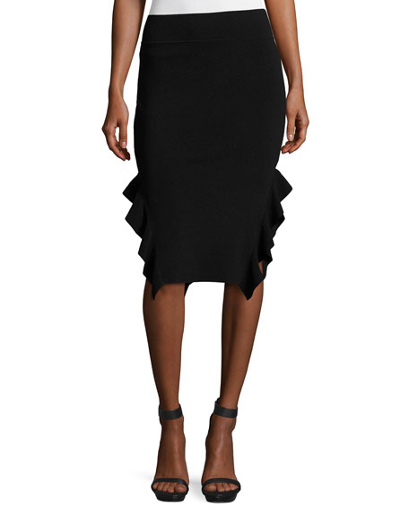 Ruffle-Trim Ponte Pencil Skirt, Black