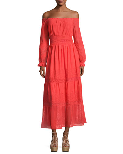 Tessa Off-the-Shoulder Embroidered Cotton Dress, Red