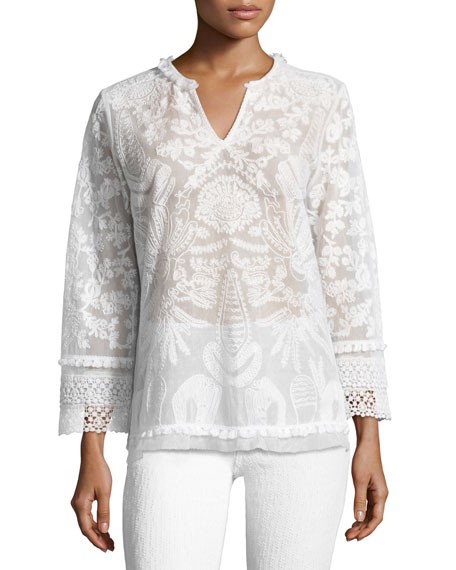 Kobi Halperin Irina Crocheted Lace Blouse, White
