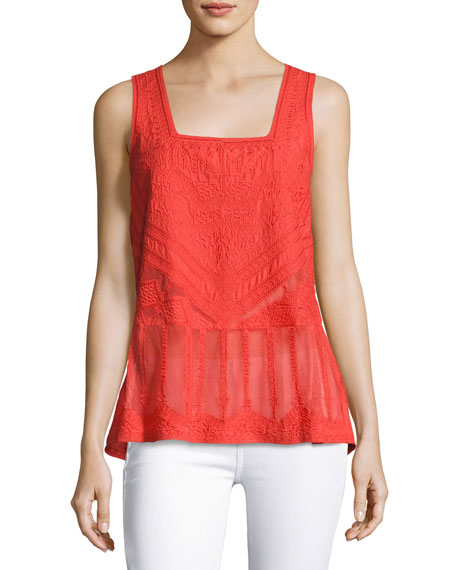 Kayleigh Sleeveless Embroidered Cotton Blouse, Red