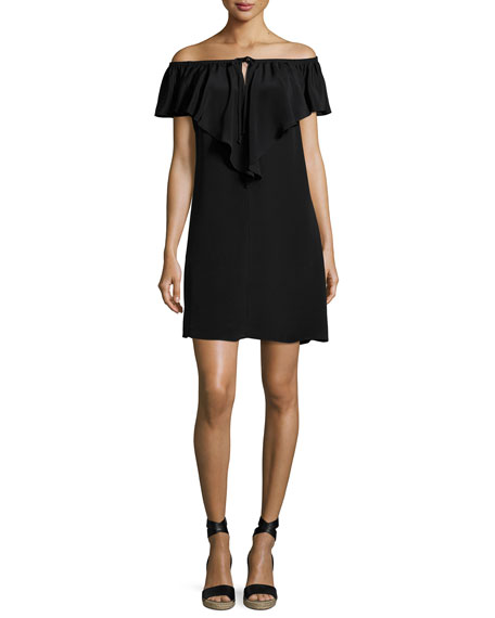 Kobi Halperin Lani Ruffled Off-the-Shoulder Silk Shift Dress,