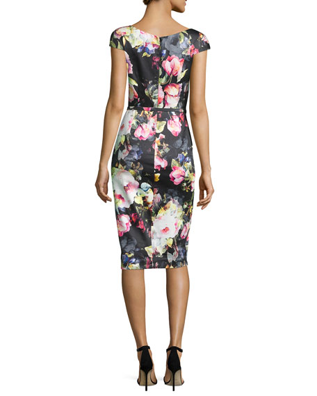 Cap-Sleeve Belted Floral Sheath Dress, Black/Pink