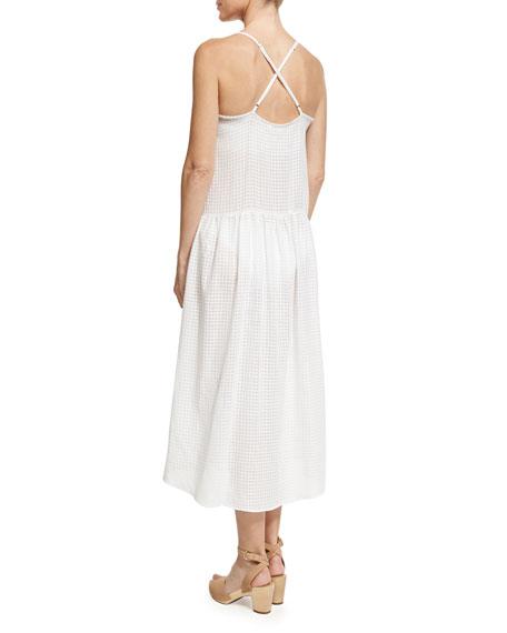 Drop Waist Button-Front Organic Cotton Sundress, White