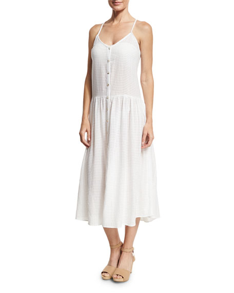 Mara Hoffman Drop Waist Button-Front Organic Cotton Sundress,