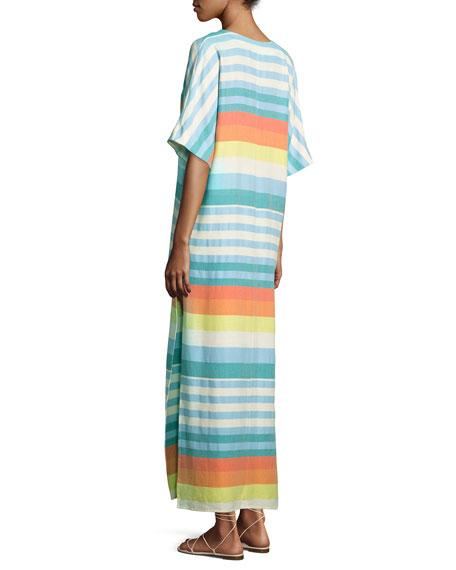 Striped Organic Cotton Kimono Coverup Dress, Equator