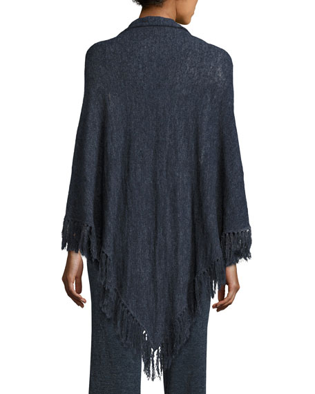 La Playa Fringe Shawl, Navy