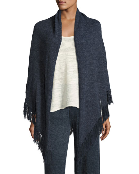 Minnie Rose La Playa Fringe Shawl, Navy, Plus