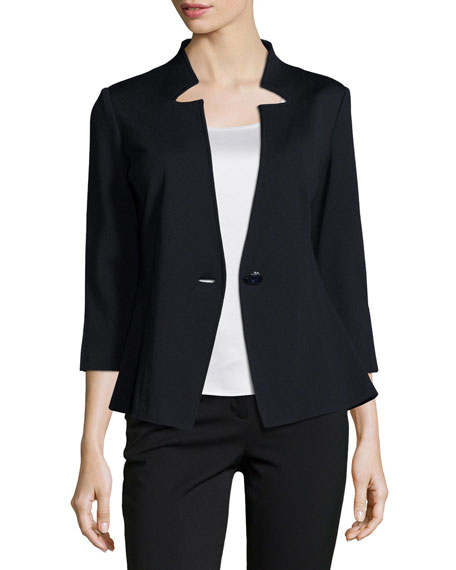 Milano Knit 3/4-Sleeve Jacket, Navy