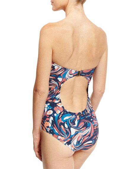 Marble-Print Zip-Front Bandeau One-Piece Swimsuit, Multicolor