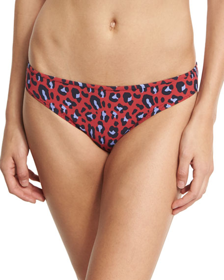 Leopard-Print Classic Bikini Swim Bikini Bottom, Red