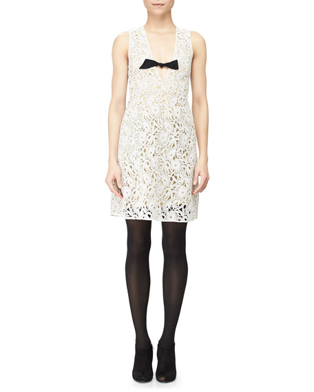 Burberry Floral Macrame Lace Dress w/ Bow, White