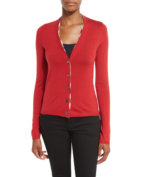 Burberry Brit V-Neck Check-Trim Cardigan, Military Red