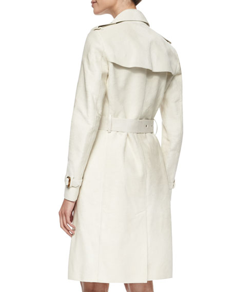 Calf-Fur Double-Breasted Extra-Long Trenchcoat, White