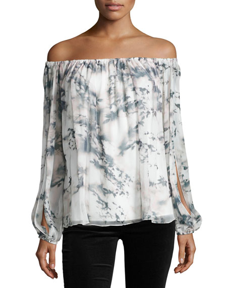 Haute Hippie Flowers in the Sun Off-the-Shoulder Printed