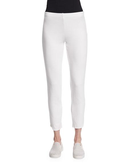 Joan Vass Ponte Ankle Pants, White, Petite