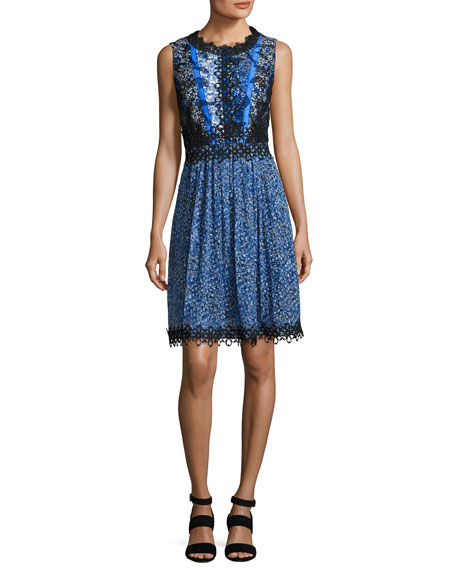 Elie Tahari Audriana Sleeveless Lace-Trim Printed Dress, Dark