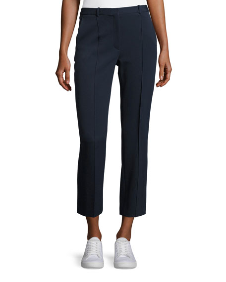 Theory Hartsdale K Oxford Cropped Knit Pants, Blue
