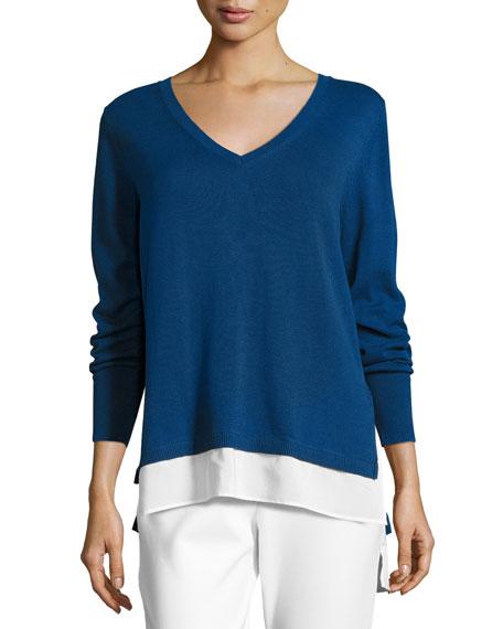 Joan Vass Long-Sleeve Sweater W/ Woven Hem