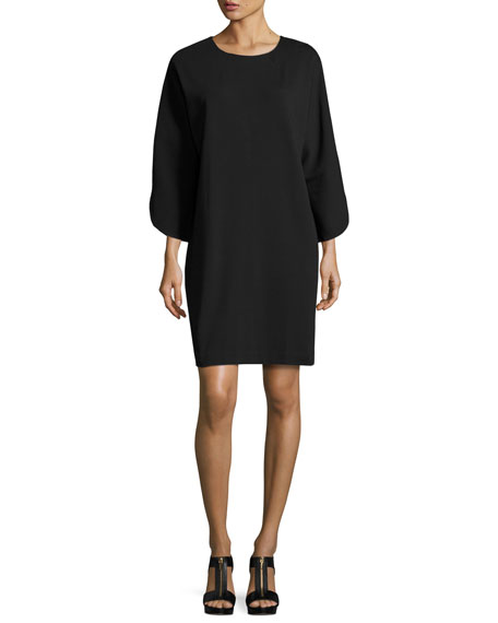 Tulip-Sleeve Cotton-Interlock Dress