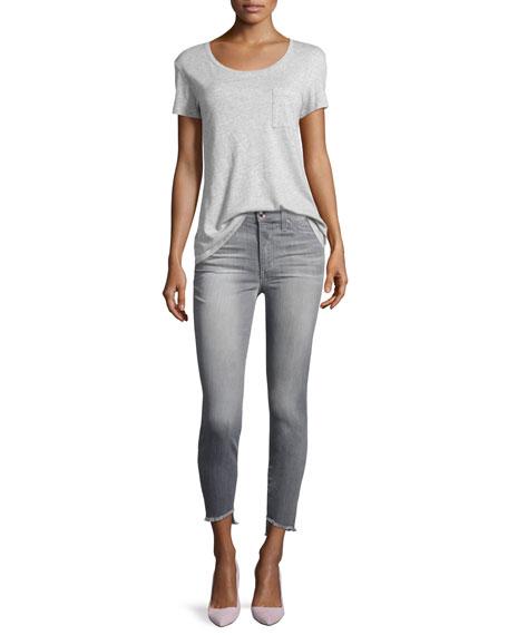 The Charlie Ankle Skinny Jeans with Raw Tulip Hem, Jasmyn