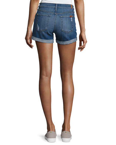 Mid-Rise Rolled-Cuff Distressed Denim Shorts, Indigo