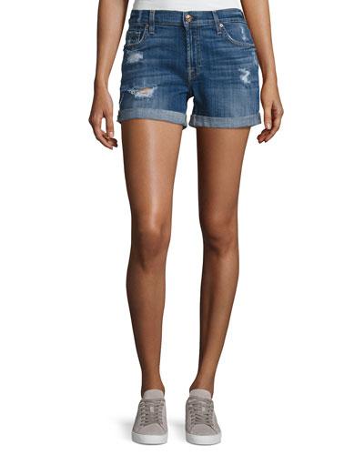 Mid-Rise Rolled-Cuff Distressed Denim Shorts, Indigo