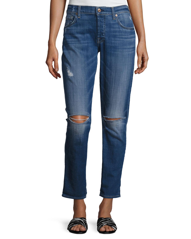 b9f59d1c0d7 7 for all mankind Josefina Distressed Slim Boyfriend Jeans, Indigo ...