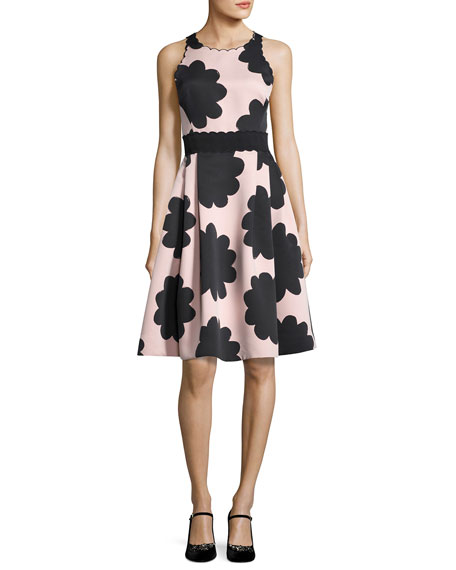 kate spade new york sleeveless petal stamp fit-and-flare