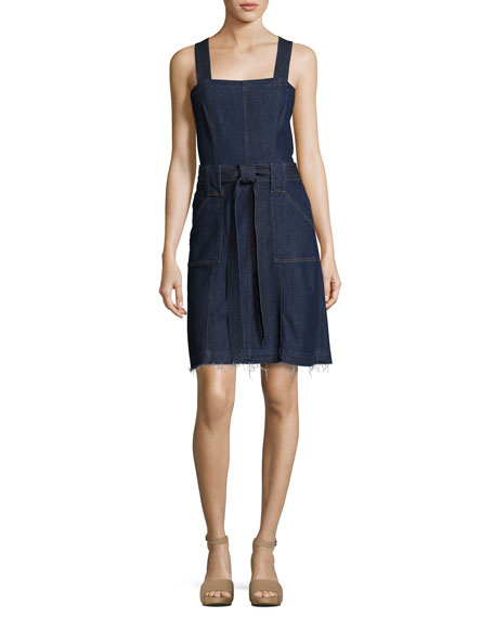 7 For All Mankind Sleeveless Belted Denim Dress,