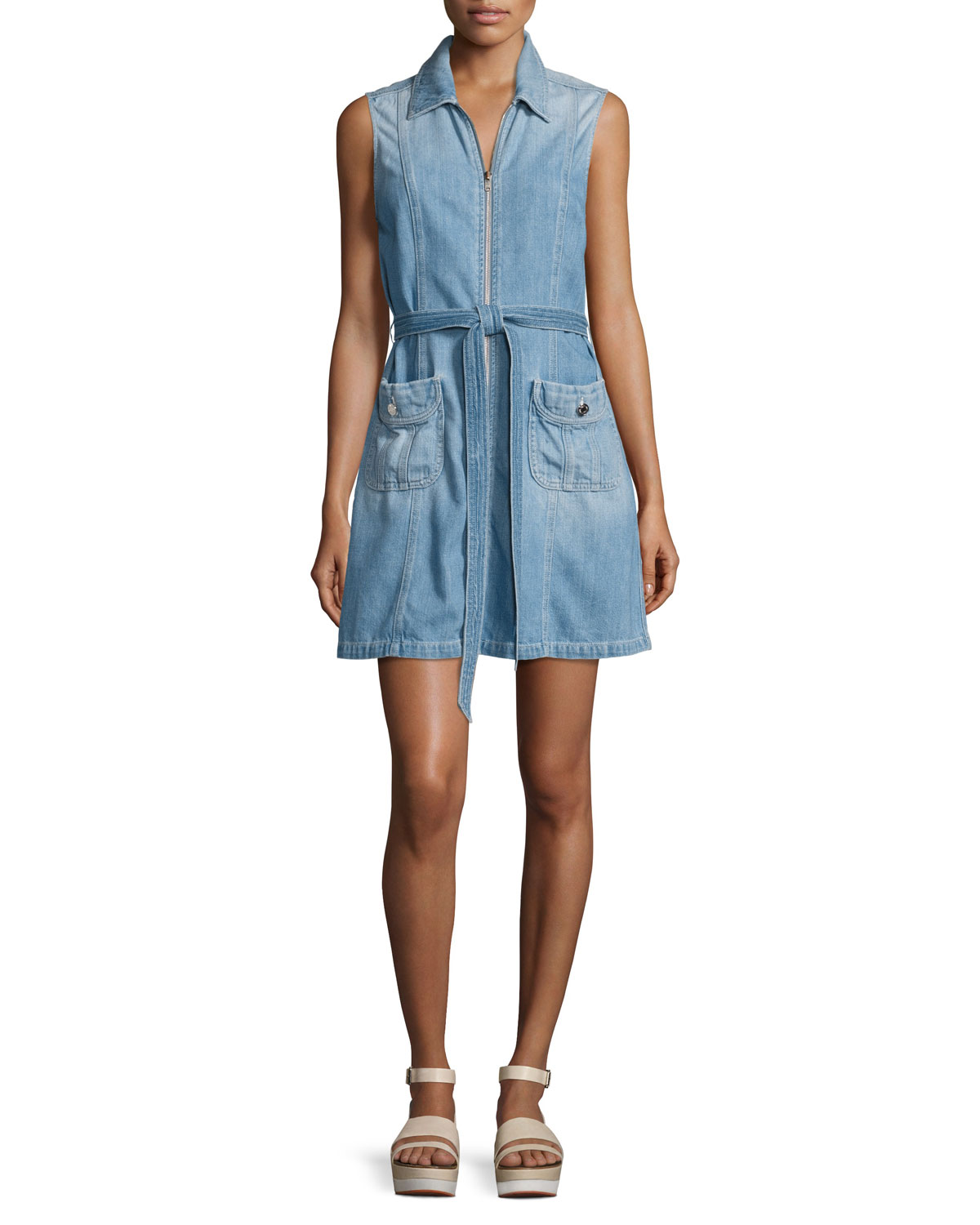 c035417753 7 for all mankind Belted Zip-Front Denim Dress