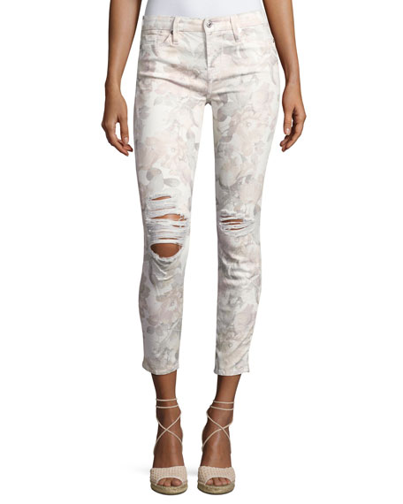 The Ankle Skinny Floral-Print Jeans with Distressing, White