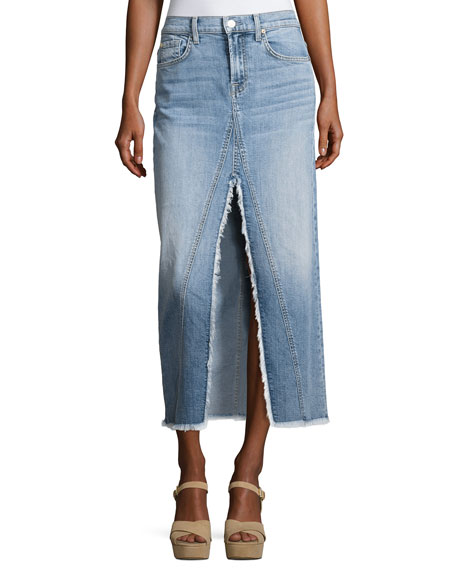 7 For All Mankind Long Denim Skirt with Front Slit, Indigo