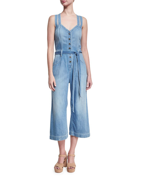 7 For All Mankind Button-Front Sleeveless Cropped Denim