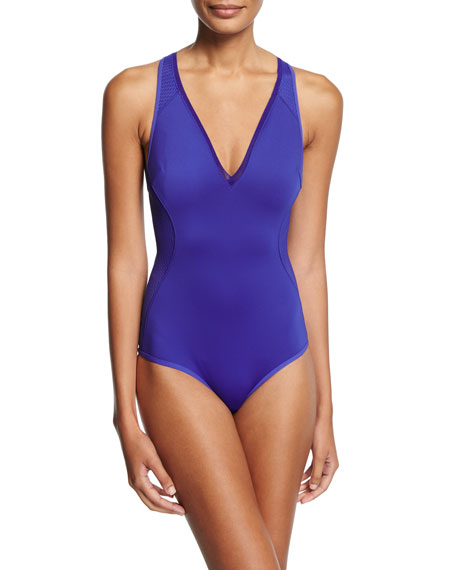 Stella McCartney Neoprene & Mesh One-Piece Swimsuit
