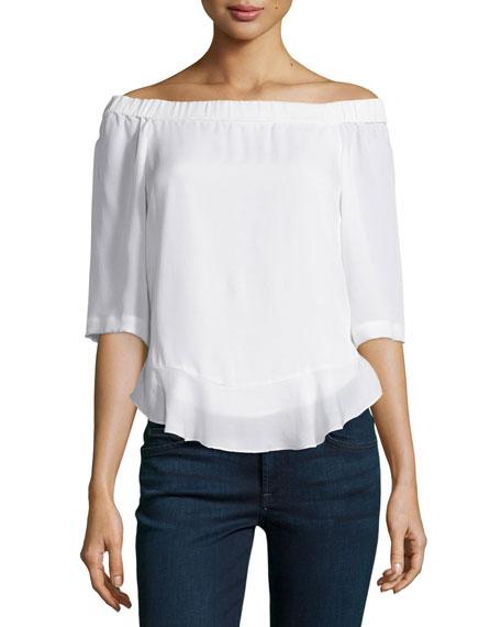 Silk Off-the-Shoulder Top, Chalk