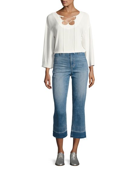 The Jane High-Rise Straight Cropped Jeans with Released Hem, Yenz