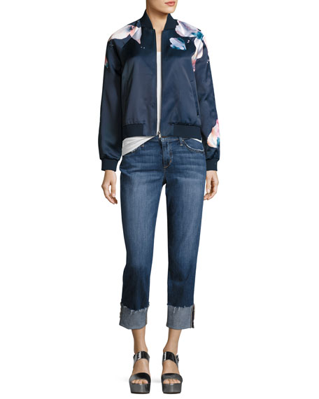 The Smith Mid-Rise Cropped Straight-Leg Jeans, Dionne