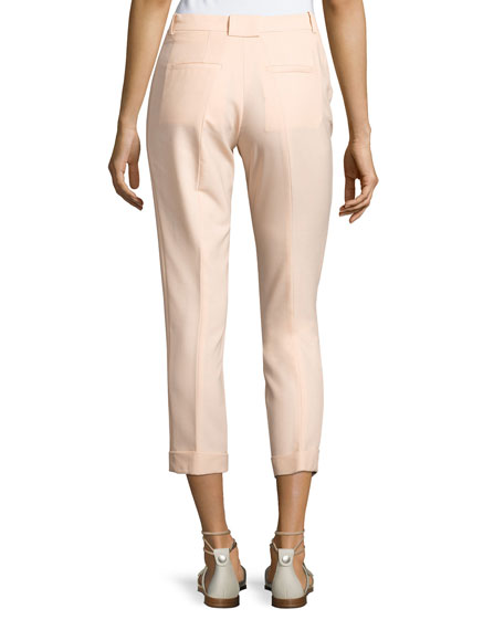 Cropped Crepe Pants, Beige