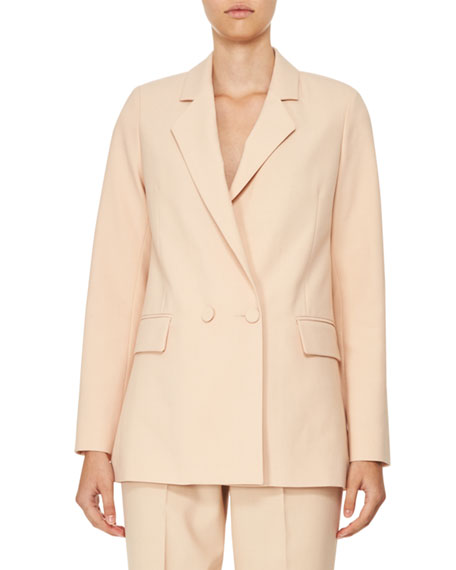 Carven Double-Breasted Oversized Crepe Jacket, Beige