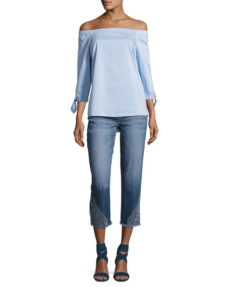 The Smith Mid-Rise Cropped Straight Jeans with Floral Embroidery, Nixie