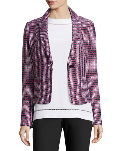 Martinique Tweed Knit Jacket, Caviar/Multi