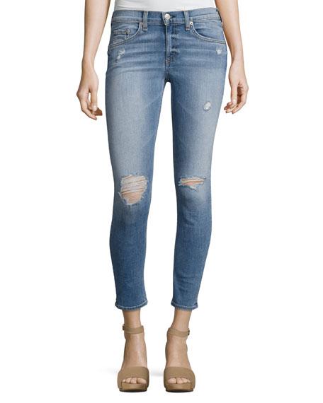rag & bone/JEAN Gunner Distressed Capri Jeans, Light
