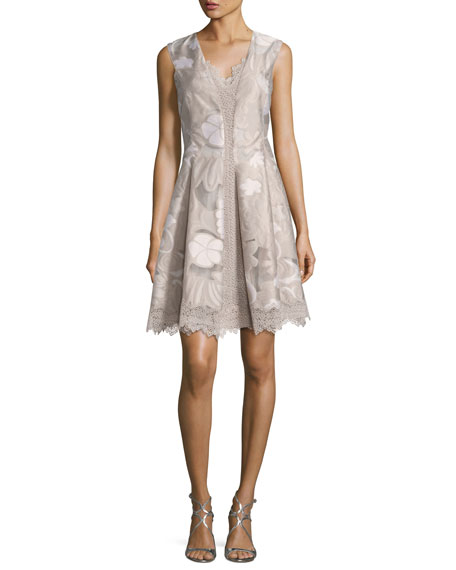 Elie Tahari Lola Sleeveless Floral Lace-Trim Dress, Multi
