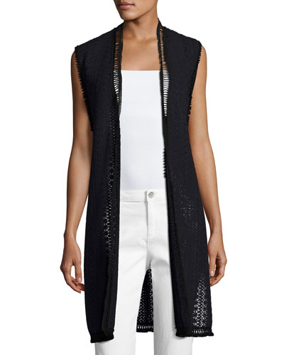 Darlene Long Crocheted Vest, Navy